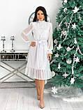 Красиве ніжне жіноче шифонова сукня-міді вільного крою з воланом внизу р. 42-48, фото 4