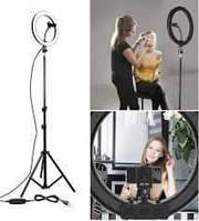 Кольцевая Led лампа со штативом 45 см для селфи, фото 1