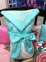 Конверт-одеяло демисезонный с кружевом Blumarine цвет Тиффани 100*100см