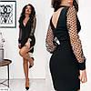 Платье праздничное с сеткой черное