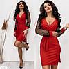 Платье праздничное с сеткой красное