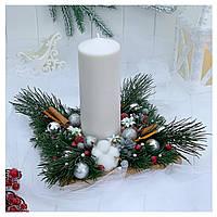 Рождественский подсвечник с большой белой свечой, фото 1