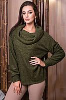 Туника женская удлиненная зеленого цвета, туника большого размера
