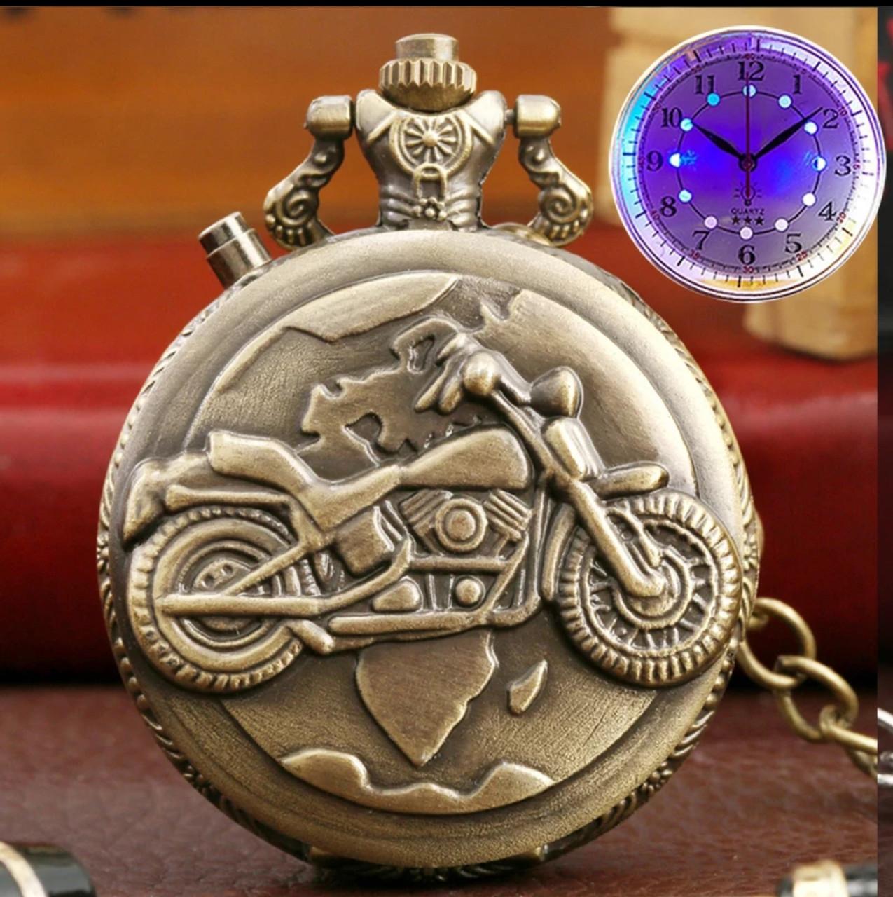 Часы карманные мотоцикл с подсветкой