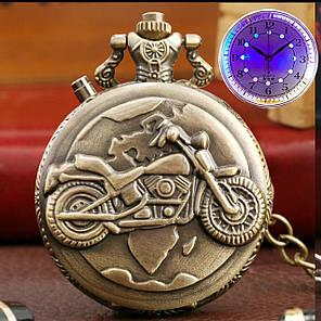 Часы карманные мотоцикл с подсветкой, фото 2