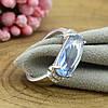 Серебряное кольцо размер 17 вставка светло голубые фианиты вес 3.3 г, фото 4