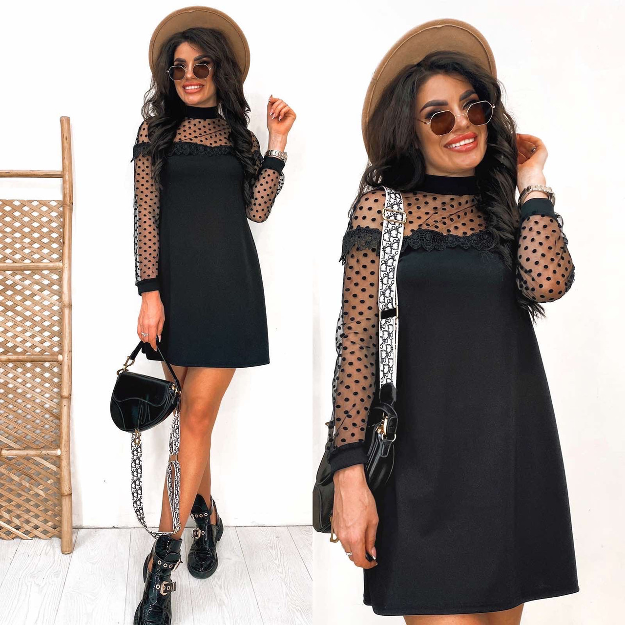 Чёрное нарядное платье-трапеция с сеткой