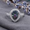 Серебряное кольцо размер 19 вставка фианит мистик вес 3.7 г, фото 2