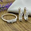 Серебряный набор кольцо размер 18.5 + серьги 17х5 мм вставка белые фианиты вес 5.7 г, фото 3