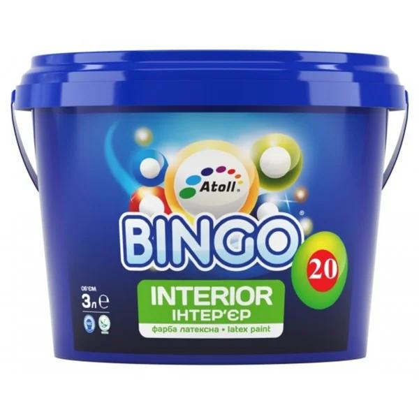 SI-23-10л Bingo 20 краска интерьерная ПРЕМИУМ латексная полуматовая, степень блеска 20
