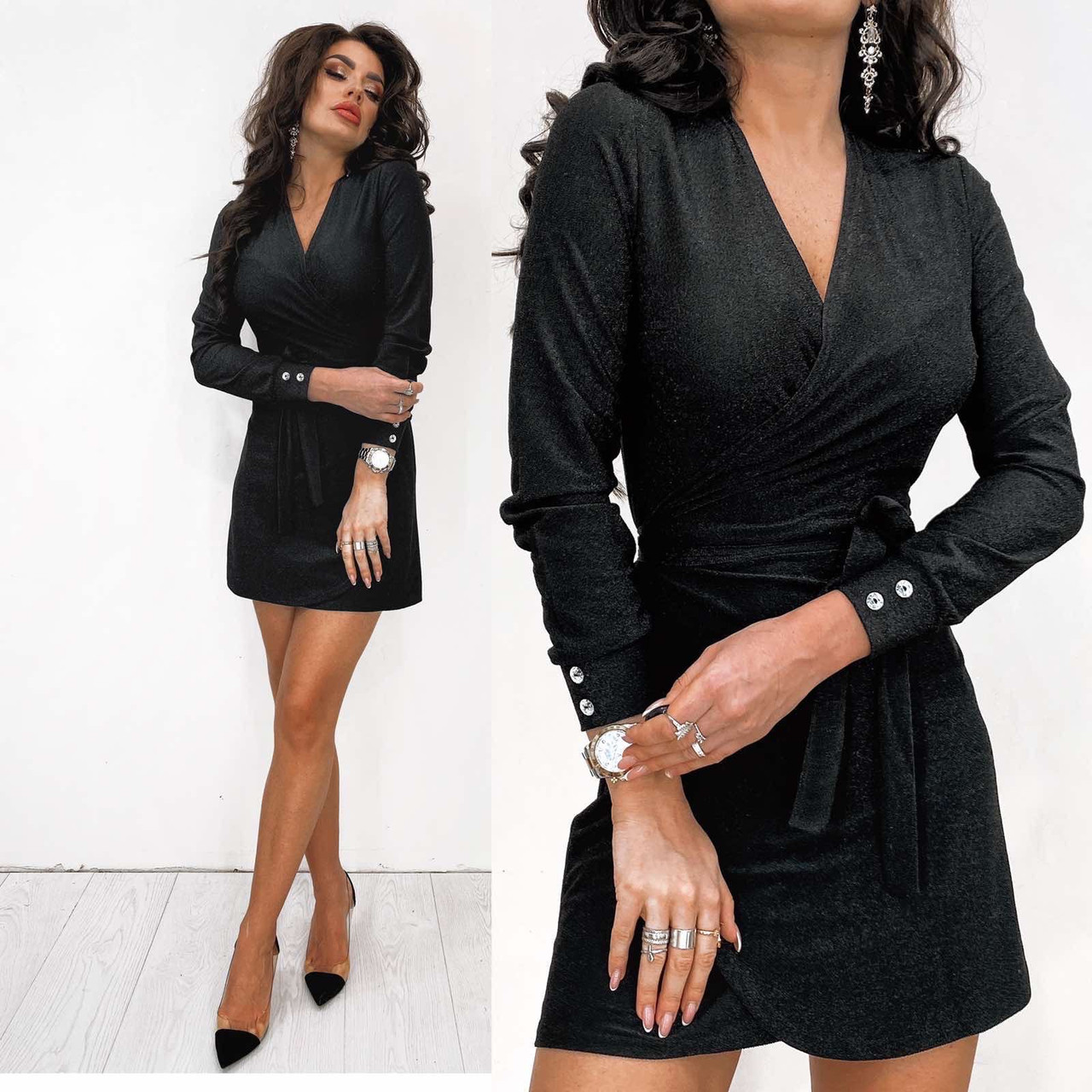 Чёрное вечернее платье на запах