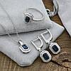 Серебряный набор кольцо размер 18 + цепочка 55 см + серьги 27х10 мм + кулон 17х10 мм вставка синие фианиты вес, фото 2