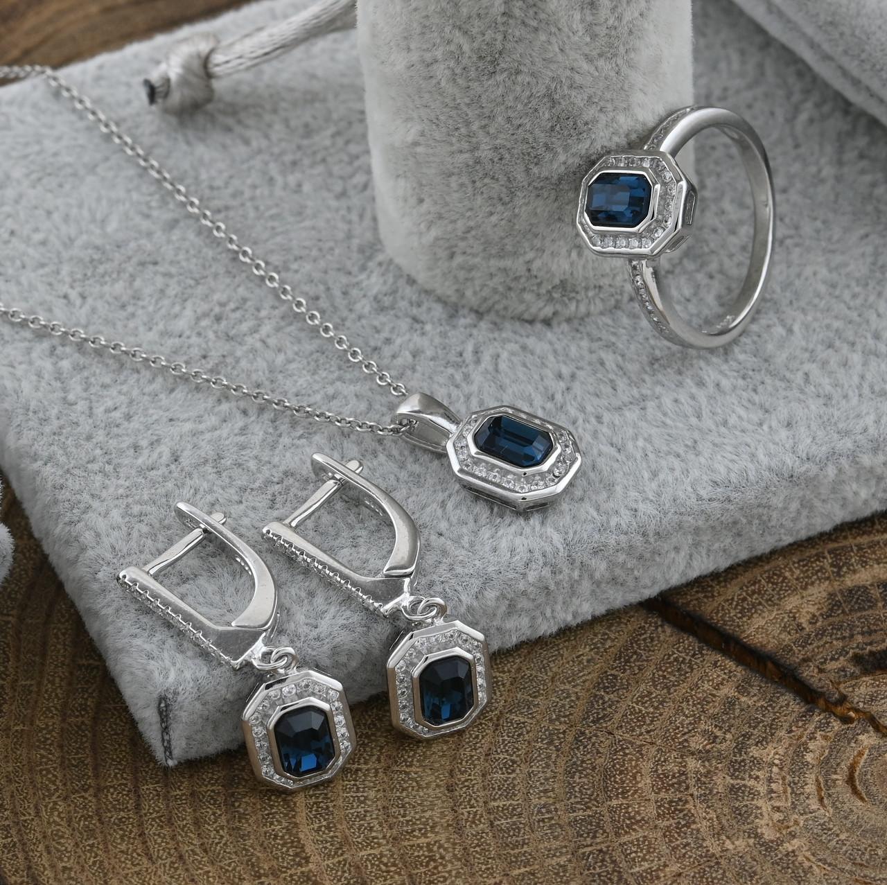 Серебряный набор кольцо размер 18 + цепочка 55 см + серьги 27х10 мм + кулон 17х10 мм вставка синие фианиты вес