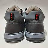 Зимові чоловічі кросівки на хутрі, черевики зі штучної шкіри Чорний, фото 7