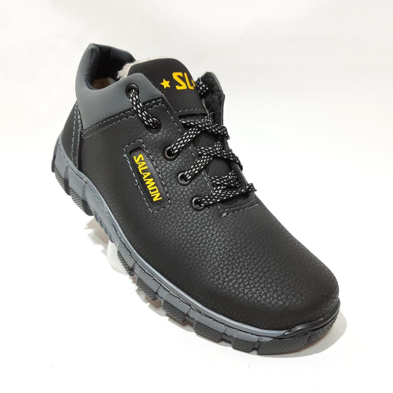 Зимові чоловічі кросівки на хутрі, черевики зі штучної шкіри Чорний