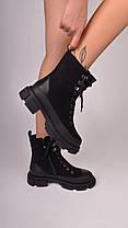 Женские ботинки черные с мехом, фото 3