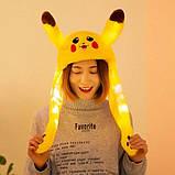 Светящаяся плюшевая живая шапка - игрушка кигуруми Пикачу с двигающимися ушами, фото 2