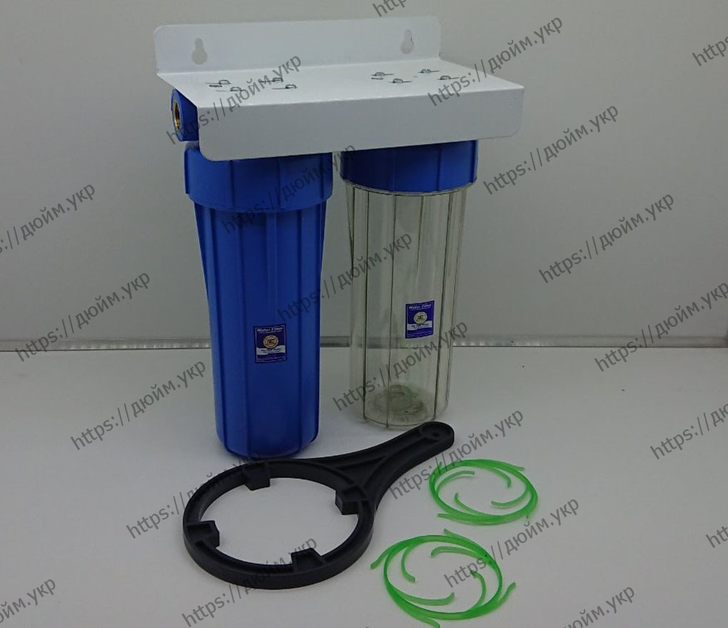 Корпус фильтра Aquafilter FHPRCL12-B-TWIN на металлической пластине