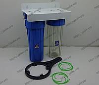 Корпус фильтра Aquafilter FHPRCL12-B-TWIN на металлической пластине, фото 1