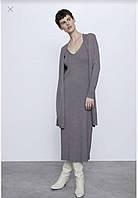 Стильный женский длинный кардиган без застежки от бренда ZARA