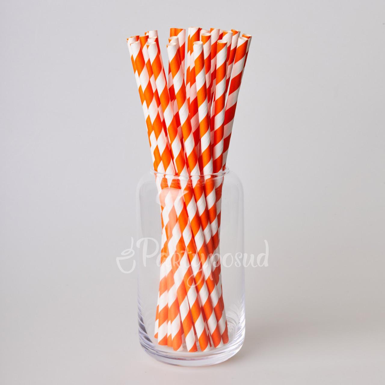 Трубочка бумажная оранжевая волна