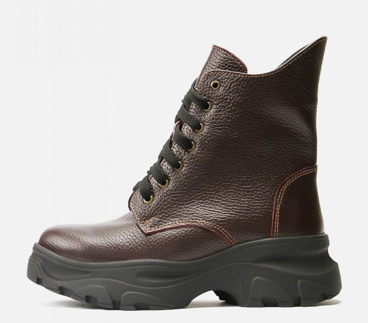 Модные зимние ботинки Villomi кожаные женские бордовые