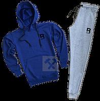 Трикотажный спортивный костюм Reebok (premium-class) темно-синий с серым