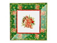 """Блюдо новогоднее, фарфоровое квадратное, зеленое """"Cristmas collection"""", размер 22х22см"""