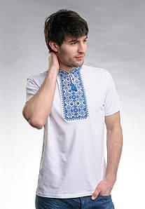 Молодежная футболка для мужчины в этно стиле «Звездное сияние (синяя вышивка)»