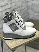 Женские зимние ботинки Белые 38 1236. Зимові жіночі чоботи - кросівки., фото 1