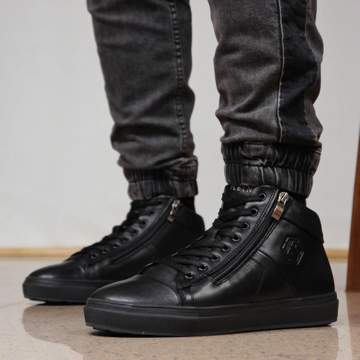 Зимние мужские черные ботинки Philipp Plein Филипп Плейн из натуральной кожи на меху 41 размер