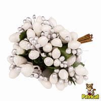 Тычинки Серебристо-белые с ягодками и листиками 24 шт/уп на проволоке с блестками