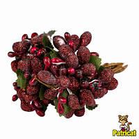 Тычинки Темно-красные с ягодками и листиками 6 шт/уп на проволоке в блестках