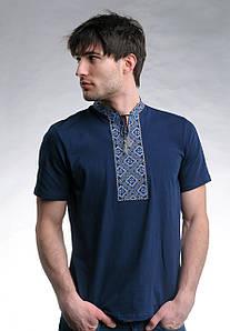 Классическая мужская футболка с вышивкой «Казацкая (синяя вышивка)»