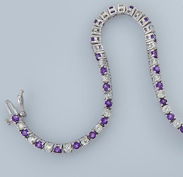 Женский браслет из белого золота с бриллиантами и аметистами С43Л1№18