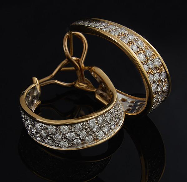 Женские серьги из желтого золота с бриллиантами С42Л1№28