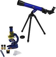 Детский микроскоп и телескоп 2 в 1 Limo Toy SK 0014, синий с черным