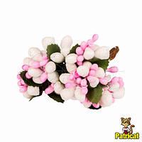 Тычинки Бело-розовые с ягодками и листиками 6 шт/уп на проволоке в блестках, фото 1