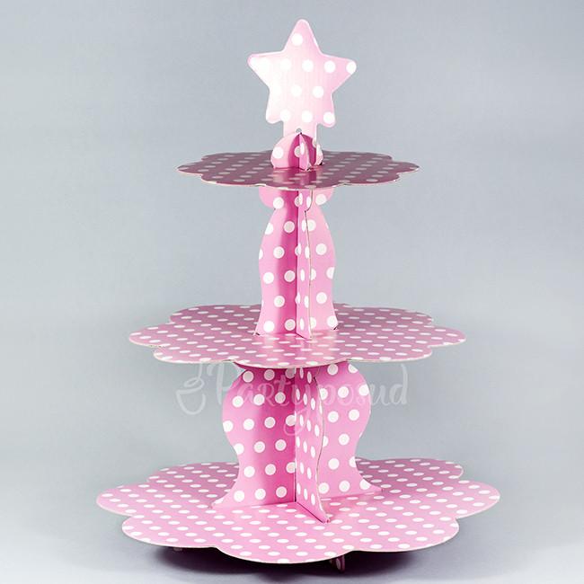 Этажерка бумажная в горошек розово-белая