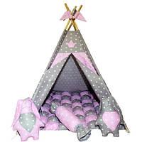 """Вигвам комплект бонбон """"Принцесса"""" розовый с серым с подушкой, фото 1"""