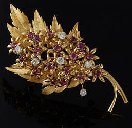 Шпилька з жовтого золота з діамантами та рубінами С42Л1№27
