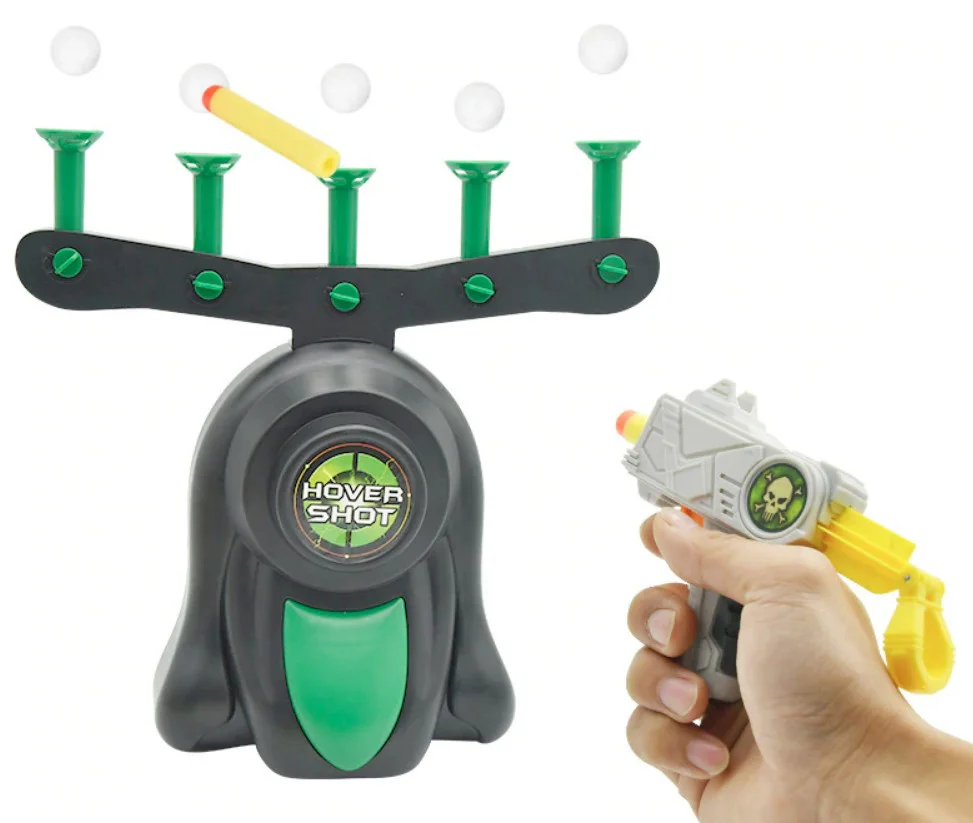 Воздушный тир Hover Shot  Детская игра пистолет с дротиками и летающие мишени  Стрелялки с бластером