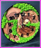 Часы в металлическом ободке до 30 см со стабилизированным мхом Деревянные настенные Оригинальный декор подарок