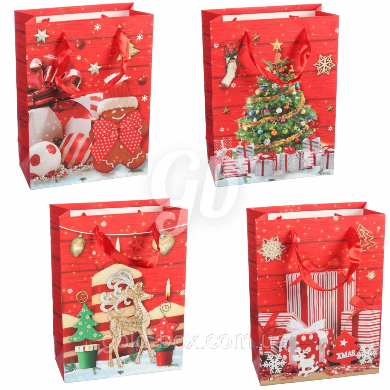 Новогодние пакеты оптом набор 12шт (4 вида)