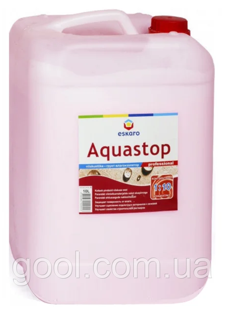 Грунтовка влагоизолятор Эскаро Аквастоп Профессионал (Aquastop Professional) 10 литров концентрат 1:10
