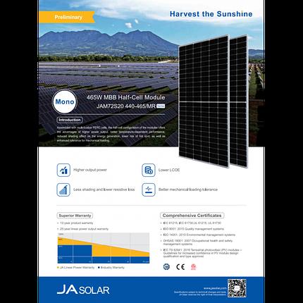 Монокристаллическая солнечная панель JA Solar JAM72S20-460/MR 460 Вт, фото 2