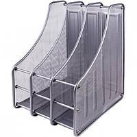 Лоток для бумаг металлический вертикальный серый, 3 секции