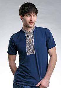 Мужская футболка с вышивкой в украинском стиле «Казацкая (бежевая вышивка)»