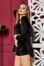 Велюровый костюм для дома с шортами женский чёрный, фото 2