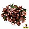 Тычинки Коричневые с ягодками и листиками 6 шт/уп на проволоке в блестках